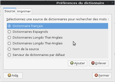 Menu du dictionnaire gnome