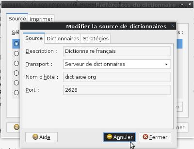 Réglages dictionnaire GNOME
